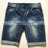 customer brand color fade proof men's denim jeans shorts with button fly