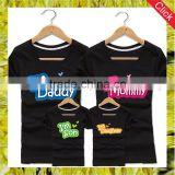Custom made funny printed 100% cotton parent-child t shirts short sleeve family matching tee shirts
