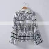 Lastest Ethnic Style Flower Black And White Cotton Shirt Without Collar