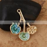 Wholesale Zinc Based Alloy Lotus Leaf Gold Plated Light Green Enamel Flower Garden Style Pendants