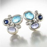 925 Silver Jewelry Blue Oval Mosaic Button Earrings(E-088)