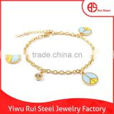 gold peace sign fashion bracelet stainless steel bracelet for girl's gift