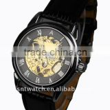 leather band men skeleton watch