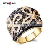Black Butterfly Bow Pattern New CZ Crystal Top AAA Quality Pave Setting Jewelry Ring