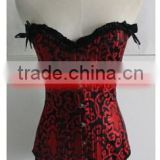 Wholesale cheap Lady Sexy burlesque lace up red floral corset bustier garter wholesale checkout
