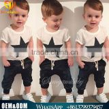 2016 Hot Sale Baby Boy Clothes Cute Boy 2-6Y Summer Harlen Outfits Cloth Sets Pure Cotton Star Printed Clothing Suits Sets