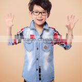 2014 Spring Denim Big Boys Shirt Fashion Checked Kids Tops
