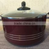 Quality Non-stick Red Caldero with Class lid and Bakelite Handle
