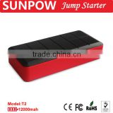 sunpow 12000mah lcd display multifunction 12v car jump starter/battery power bank station/booster pack