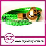 PUB0049 braided green leather vintage bracelet clasp