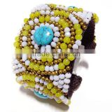 0002 THAILAND Handcraft JEWELRY set Artisan Brass Woven Statement BANGLE Fashion Bracelet Agate Stone Pearl Shell BEADED