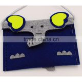 kid wholesale fabric wool felt heart bag gift small candy belt bag