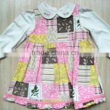 new design kids corduroy dress autumn 2 pieces baby girls cotton casual dress
