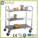 Hospital food trolleys round tube, stainless steel food trolley for sale