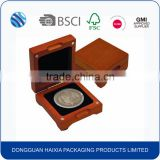 Custom logo luxury euro wooden velvet coin display box with velvet insert                                                                         Quality Choice