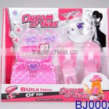 Fashion kids toy pink plastic led beauty case and tiara crown