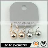 Wholesale clip on earrings sticker silver and gold double ball earrings                                                                                                         Supplier's Choice