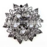 Fashion Vintage Brooch Crystal Rhinestone Gun Black Flower Bride Brooch Pins Women Wedding Brooch