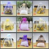 In Stock Mixed Color Wholesale custom printed logo gift drawstring jewelry organza pouch