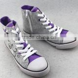 2016 children shoes kids high cut for girls flora printed cheap canvas shoes