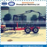 CE approved log trailer with crane/timber loading machine in china with low price
