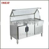 Stainless Steel Commercial Restaurant 4 Pan Buffet Bain Marie food fridge(Buffet Fridge)