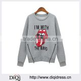 DIQI Custom Clothing Women Oversized Pullover Hoodie Loose Letter Printed Lips Sweatshirts