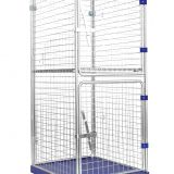 Supermarket Metal Wire Mesh Folding Roll Handling Cage Trolley