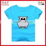Soft cotton funny print branded t shirts cheap oem baby t-shirt blue