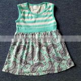 toddler wholesale dress girl blue and white stripe printing clothes floral skirt for infant