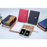 Dongguan wholesale planner a5 ring binder notebook with power bank and 8GB U disk
