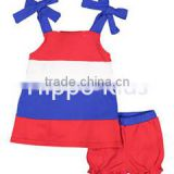 New fashion red blue block dress and bloomers knot designer clothing manufacturer in china infant clothing set