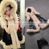 2014 the new explosion models in Europe and America big plush leather trim grass washed hooded sleeveless long vest
