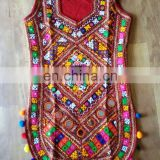 Ladies Traditional exclusive creation unique beautiful designer Pom Pom kutchi colorful Pakkowork Handmade embroidered Kurti