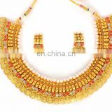 Gold Plated Laxmi Coin Jewellery-Indian Traditional Jewellery Set -One Gram Gold Plated Necklace
