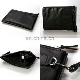 Custom black zipper soft leather File packet