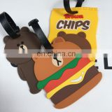 Pvc Travel Luggage Tag Cartoon Custom Silicone Luggage Tag with strap