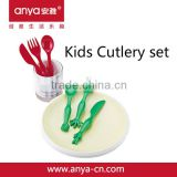 D716 lovely western food kids melanmine plastic cutlery set include fork & spoon & knife