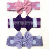 hot sale baby cotton headband polka dot hair bow knitted baby headband                                                                                                         Supplier's Choice
