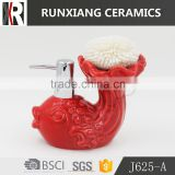Hot sale creat glazed red color ceramic soap dispenser                                                                                                         Supplier's Choice