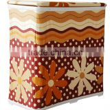 Square bathroom foldable hamper, brown flower design knock-down hamper with macthing shower curtain and bath mats