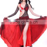 dance ladies stage show sexy red Indian belly dance costume wear