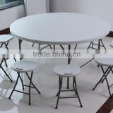 "Steel Frame Round Blow Mold Plastic Top Folding Table With Folding Legs, 700 lbs Capacity, 48"" Diameter"