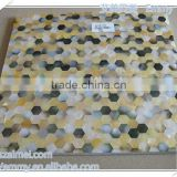 Elegant Hexangon Black&yellow mother of pearl oyster shell mosaic wall tile