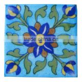 blue pottery tiles hand painted unique colors & designs