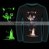 High quality fashion design men clothing/ 3d printing animal/glow in dark 100%cottom T-shirt