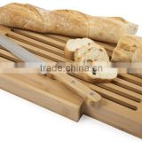 Bamboo Bread Cutting Board with Crumb Catcher Foldaway Bread Plank Bamboo Bread Board with Bread Knife Bread slicer