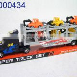 Cheap toy for kids plastic large tow trucks with 6 small construction trucks