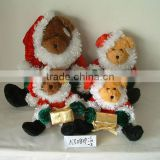 2-clour promotional customized stuffed plush christmas bear animal toy with christmas hat,coat,gift,boots,glove