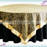 YHT#130 satin edge embroidery organza polyester banquet wedding wholesale cheap table cloth linen overlay